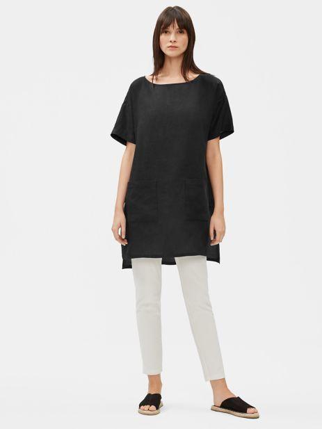 Organic Handkerchief Linen Tunic Eileen Fisher Women Clothes Sale Linen Tunic Striped Linen Shirt