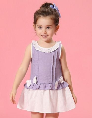 Toddlers Dress Children Beach Summer Solid Color Loose Fashion Kids Clothing