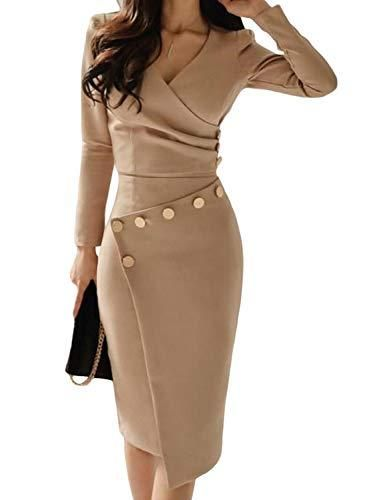 ddec8e2a4ad Happy Saield Women Wear to Work Dresses V Neck Ruched Button Design ...