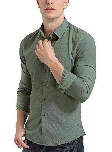 Zimaes-Men Non-Iron Classic-Fit Casual Loose Long Sleeve Longshirt