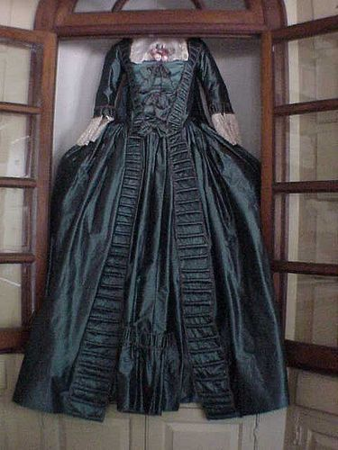 Reproduction 18th centuryTaffeta gown in the Margaret Millinery shop, found in Colonial Williamsburg.