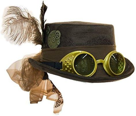 Black Deluxe Velvet 4.25 Inch Steampunk Top Hat with Removable Goggles