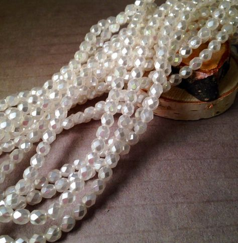 75 Snow White Round Czech Glass Pearl Beads 6MM