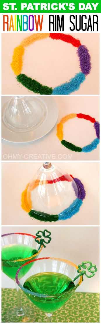 St. Patrick's Day Rainbow Rim Sugar | OHMY-CREATIVE.COM #StPatricksDay #Cocktails #RimSugar