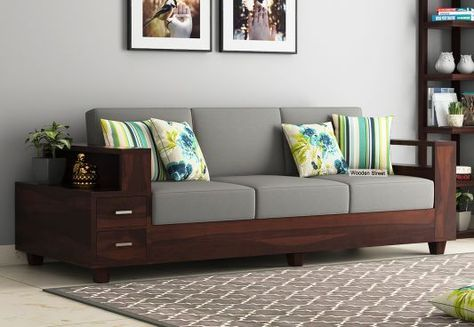 Solace 3 Seater Wooden Sofa Walnut Finish Living Room Sofa Set Wooden Sofa Set Living Room Sofa Design