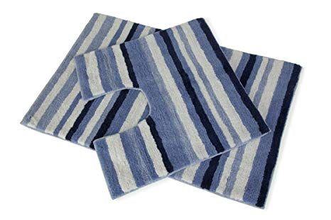 Stripey 2 Piece Blue Navy White Bath Mat Pedestal Toilet Rug 100 Cotton Set For Bathroom Hallways A A By Hallways Navy Blue Bath Rugs Bath Mat Sets