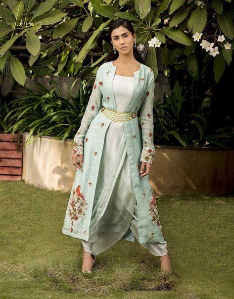 Aqua dupion silk draped dress and a silk linen parrot motif embroidered jacket Fabric: Dupion Silk, Silk Linen