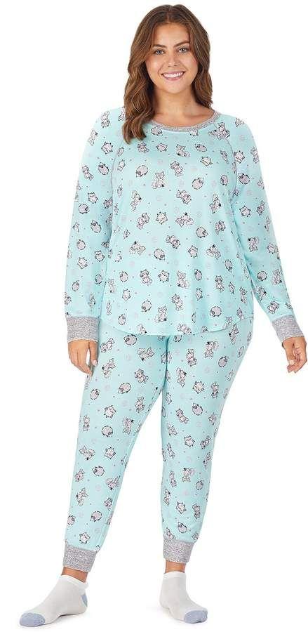Plus Size Cuddl Duds Printed Pajamas Socks Set Petite Short