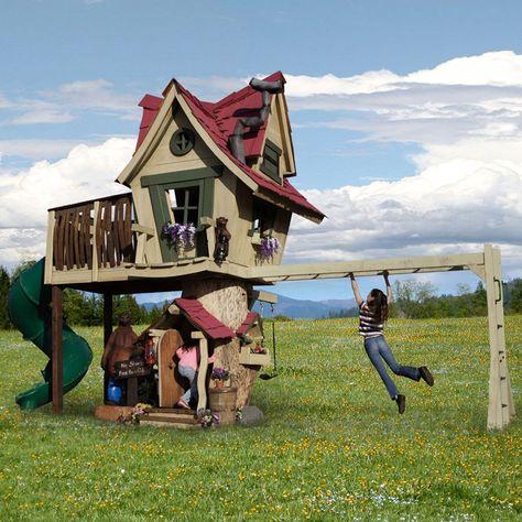 Daniels Wood Land Monkey Mansion Outdoor Wood Tree Playhouse #backyardplayhouse