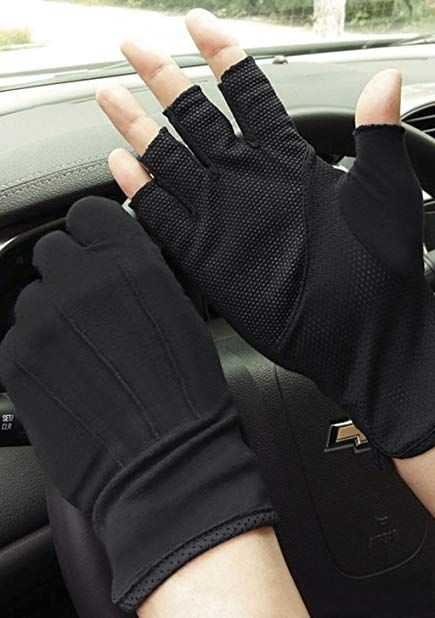 Men/'s Thin Half Finger Cotton Gloves Summer Anti-skid Cycling Gloves Breathable