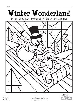 Winter Color By Numbers Coloring Page Coloring For Kids Free Printables Free Kids Coloring Pages