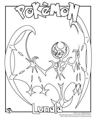 Lunala Coloring Page Pokemon Coloring Pages Coloring Pages