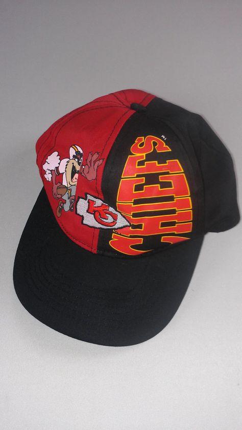 68ae2a85d50de3 Kansas City Chiefs Snapback Hat Tasmanian Devil 90s KC Taz Youth Kids NFL  Football Looney Tunes Cartoons Cap