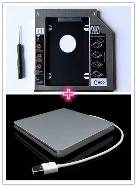 2nd HDD SDD Hard Drive Caddy For Macbook Pro Unibody With External USB Enclosure