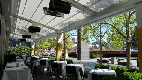 View the Alutecnic Outdoor Retractable Roof Awnings supplied and installed  by the Melbourne Awning Centre at the No 8 Restaurant in the Crown Casin