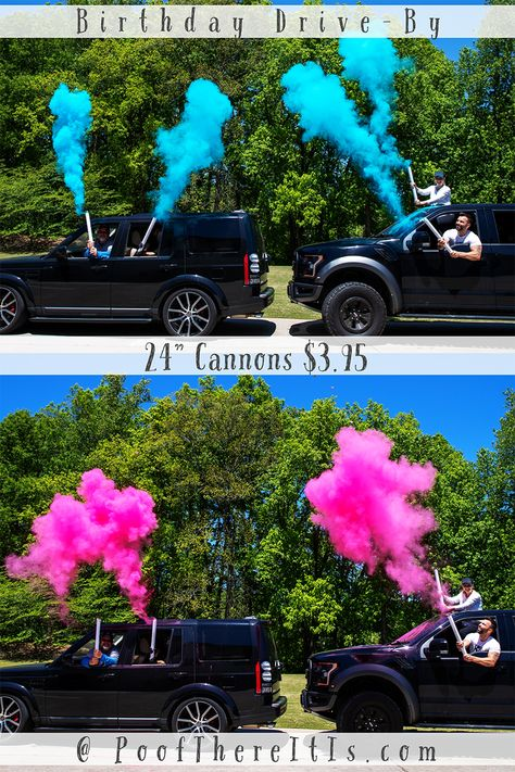 No Drive BY Birthday is Complete without Cannons! Great for Birthday celebrations. Grad Parties, Birthday Parties, 21st Birthday Checklist, Reveal Parties, 16th Birthday, Party Planning, Just In Case, Party Time, Birthday Celebrations