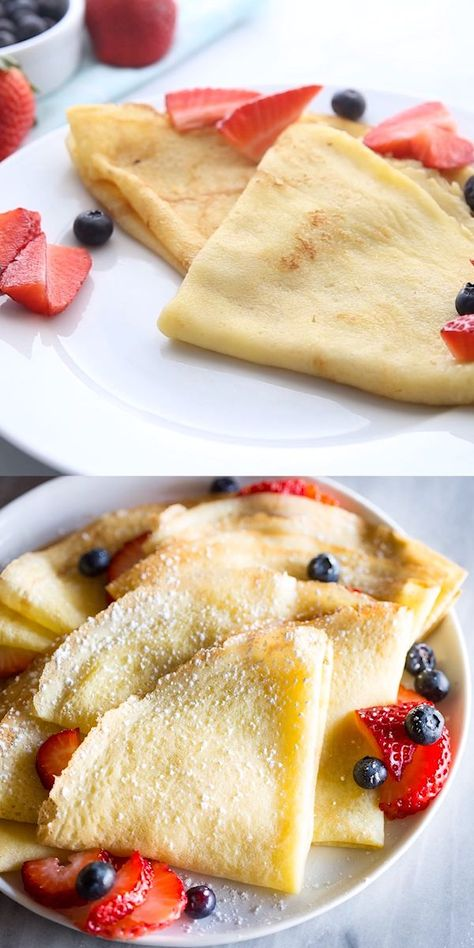 A step-by-step guide for How to Make Crepes in a skillet or frying pan.  This easy crepes recipe includes filling options for sweet, savory, and breakfast crepes.