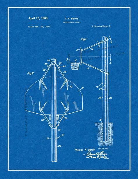 Basketball Goal Patent Print Chalkboard