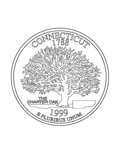 Connecticut State Quarter Coloring Page Coloring Pages States