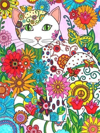 Flower And Cat Diamond Painting Cat Coloring Book Cross Paintings Painting