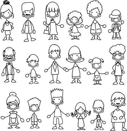 Illustration Of Doodle Members Of Large Families Vector Art Clipart And Stock Vectors Image 11499190 Stick Figure Drawing Family Drawing Doodle People