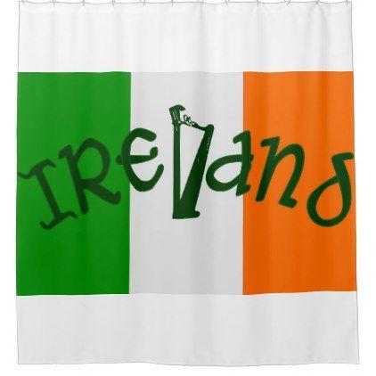 Irish Flag And Harp Shower Curtain St Patricks Day Gifts Irish