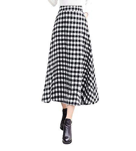 RIZ-ZOAWD Jupe Femme Longue Jupe pliss/ée /Él/égant Laine Hiver Chaud Taille Haute Midi A-Ligne Jupe Courroie Assortie