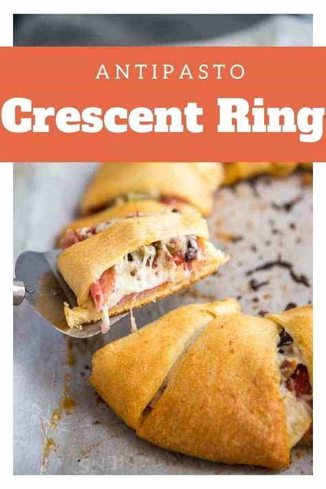 This antipasto salad crescent ring recipe is easy and fun to share! This easy appetizer is filled with a blend of meats and cheeses that makes it so tasty and delicious! #crescentring #crescentringrecipe #crescentappetizer #aintpastosalad
