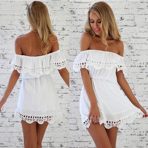 2015 Nyári Stílus nők szexi strand ruha alkalmi Ki vállnál vestidos Slash nyak Elastic Derék Mini ruhák molett