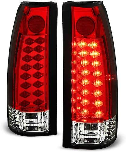 Acanii For 1988 1998 Chevy Silverado Gmc Sierra Suburban Tahoe Red Clear Lumileds Led Tail Lights Lamps Left Right In 2020 Gmc Sierra Led Tail Lights Gmc
