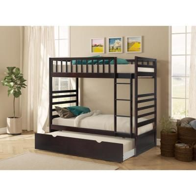 Harper Bright Designs Espresso Twin Over Twin Solid Wood Bunk Bed With Trundle Brown In 2020 Bunk Bed With Trundle Wood Bunk Beds Bunk Beds With Stairs