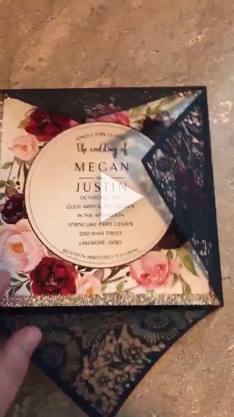Glitter laser cut floral wedding invitations with black laser cut pocket