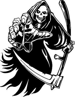 Grim Reaper Scythe Skeleton Skull Wall Car Truck Window Vinyl Sticker Decal 6 Ebay In 2021 Grim Reaper Reaper Tattoo Grim Reaper Drawing