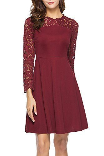 Lyrur Long Sleeve Round Neck Fit and Flare Women's Burgundy