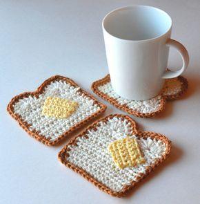 May 2, 2019 - Buttered Toast Coasters Set of 4 or 6 Adorable Kawaii Crochet Food, Crochet Kitchen, Crochet Gifts, Cute Crochet, Knit Crochet, Crochet Geek, Crotchet, Crochet Designs, Crochet Patterns