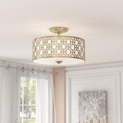 Willa Arlo Interiors Bindy 3 Light 15 5 Shaded Drum Semi Flush Mount In 2020 Light Fixtures Bedroom Ceiling Flush Mount Kitchen Lighting Semi Flush Ceiling Lights