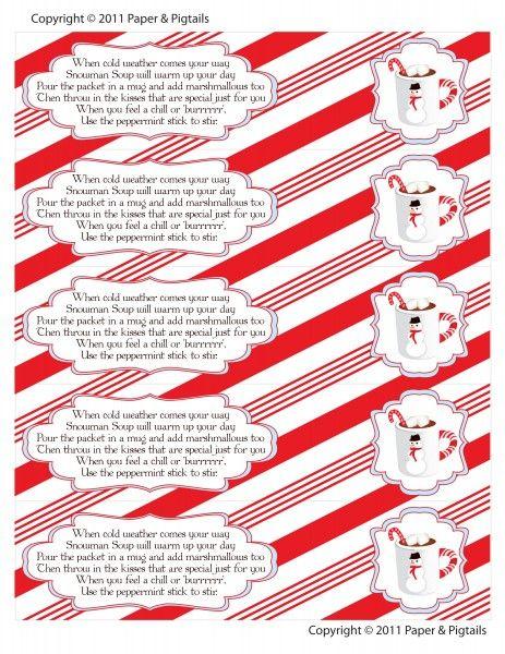 Snowman party 2014 - snowman soup printables