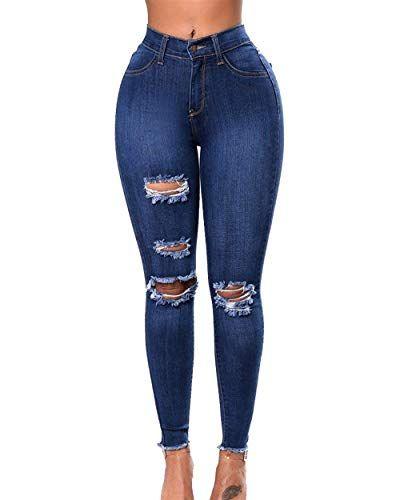 Women's Jeans Fashion High Waist Ripped Button Stretch Pants