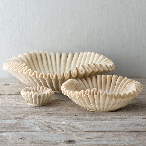 Ruffled Marble Bowl in Gifts Perfect For. The Hostess at Terrain Pottery Bowls, Ceramic Bowls, Ceramic Pottery, Ceramic Art, Ceramic Pinch Pots, Thrown Pottery, Slab Pottery, Ceramic Decor, Ceramic Mugs