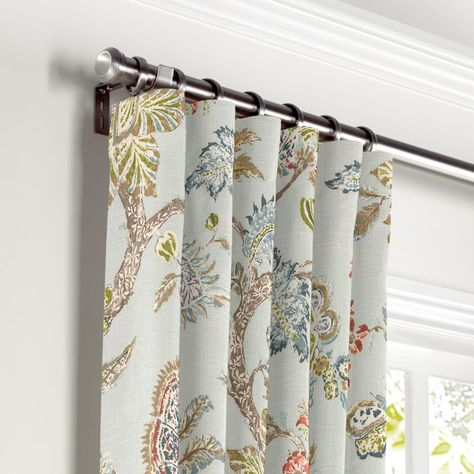 Gold French Floral Lined Pencil Pleat Curtain Pair Luxury Duck Egg Blue Aqua