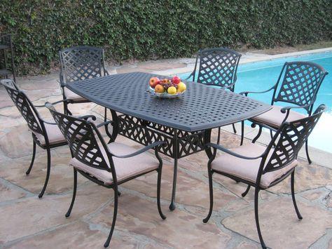 Outdoor Cast Aluminum Patio Furniture 7 Piece Dining Set Kl4272