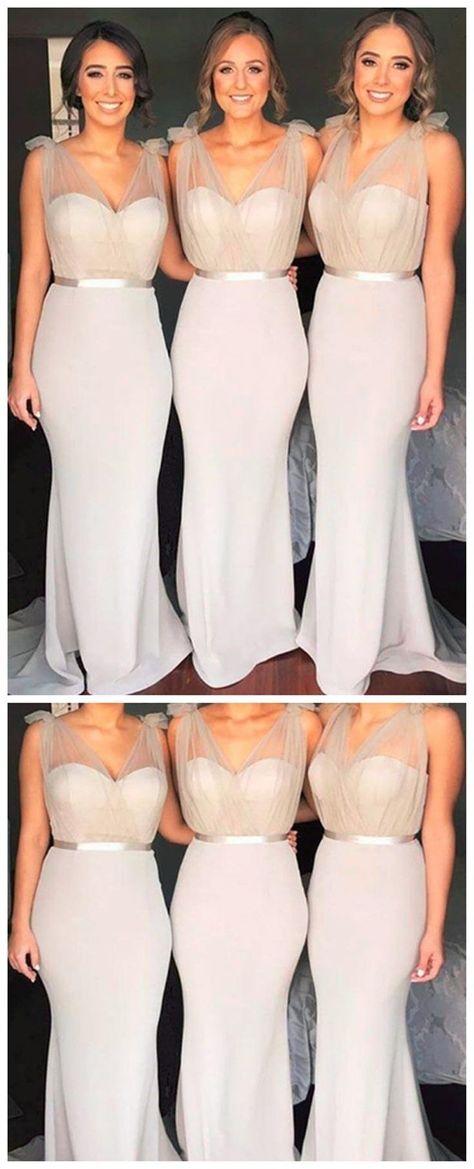 V Neck Mermaid Grey Long Cheap Bridesmaid Dresses Online, WG259 #bridesmaid #wedding #bridesmaiddresses #cheapbridesmaiddresses #weddingidea #longbridesmaiddresses