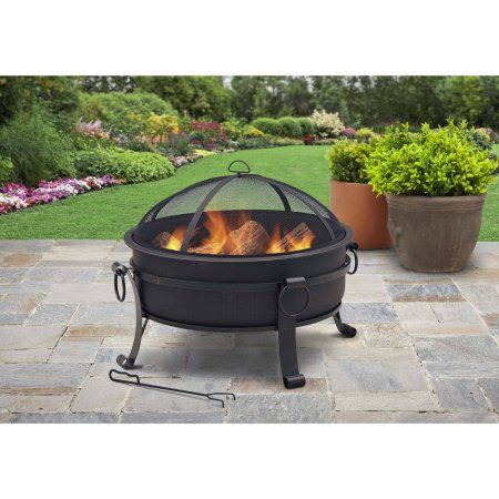 Better Homes Gardens 30 In Cauldron Fire Pit With Pull Ring Garden Fire Pit Fire Pit Patio Fire Pit Backyard