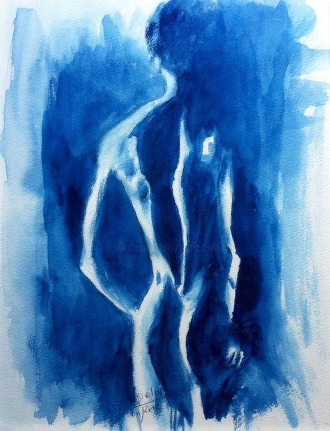 Blue Man Peinture 30x21 Cm C 2012 Par Magaline Arts Art Abst