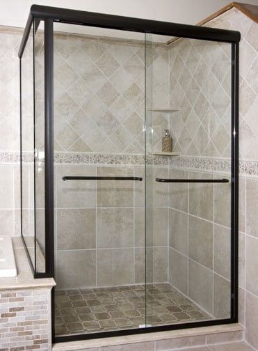Frameless Double Sliding Shower Enclosure With Buttress Return Knee Wall 2 In 2020 Shower Doors Frameless Shower Doors Glass Shower Doors