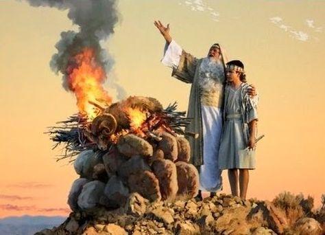Abraao E Isaque No Sacrificio Do Carneiro Gen 22 13 Biblia