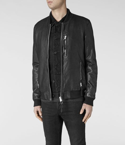 9055263a Mens Momoto Leather Bomber Jacket (Anthracite) | ALLSAINTS.com ...