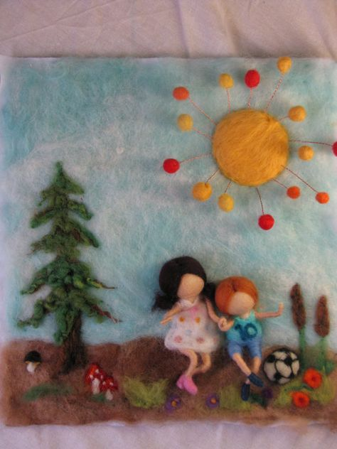 Needle felted tapestry Summer time waldorf by