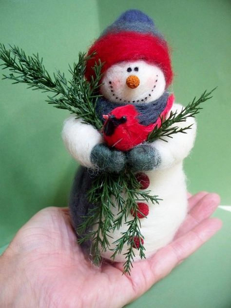 This 7 tall Felted Wool Snowman is made by a wrapping of wool over a wire frame. He stands freely on his own but is strung for hanging as an ornament.