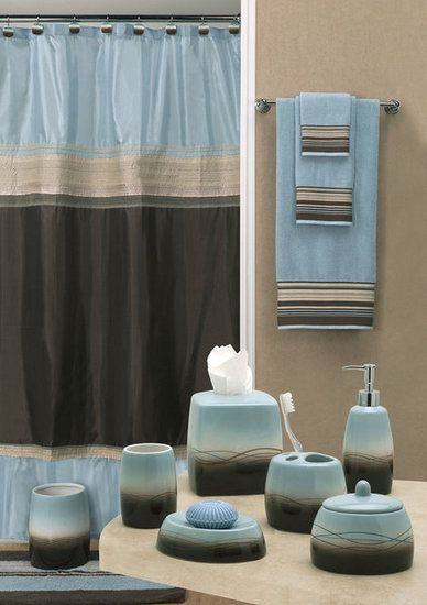 blue and brown bathroom accessories